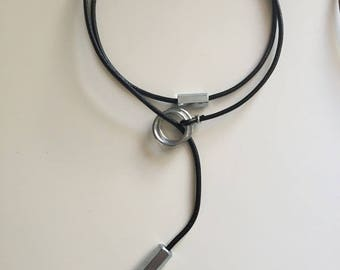 Necklace leather rings and tube steel galvanized free shipping