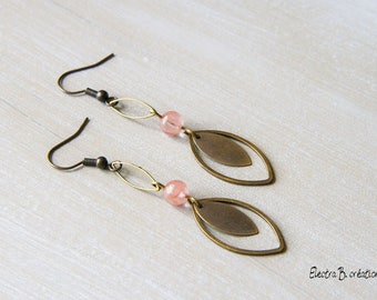 "Earrings ""Cats eyes"", cherry quartz and brass"
