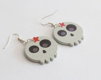 Wood skull earrings