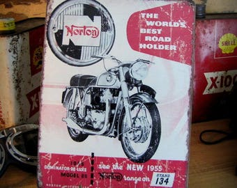 Plated 28 x 21 cm, Norton Dominator Motorcycle by Deco cars 1955
