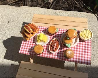 Mini picnic table for dollhouses