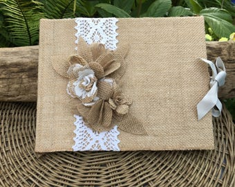 Wedding guest book, rustic Burlap/hessian with handmade lace and burlap flowers.