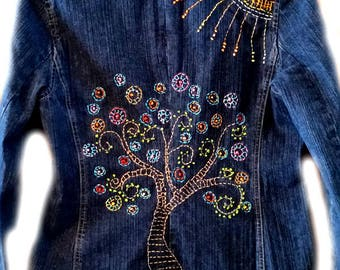 Tree of Life, Denim Jacket, Jean Jacket, Embroidered Jacket, Womens Size 4, Blazer, Womens Clothing
