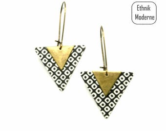 triangle black and white paper earrings