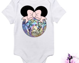 Versace Galaxy Rainbow Minnie Mouse with Pink Bow Baby Onesie | Babyshower Gift | First Birthday Outfit | Disney | Designer Inspired
