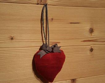 Velvet heart shaped hanging decoration