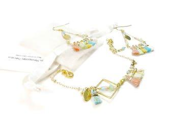 Set bracelet earrings pastel multicolored Bohemian chic