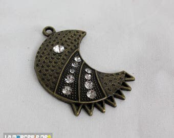 Moon 28 * 12 mm with antique bronze rhinestone pendant