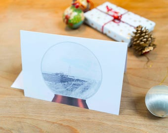 St Mary's Lighthouse Snow Globe Christmas Card