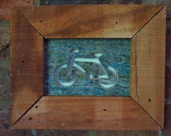 Bicycle  Wall Art from Reclaimed Wood, rustic