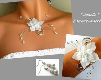 Flower jewelry set janelle Crystal white bridal Pearl silver foil wedding