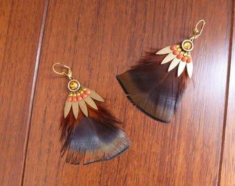 Warm toned feather earrings