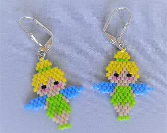 new! beautiful Tinkerbell peyote stitch earrings