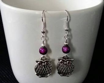 """Purple OWL"" earrings 5 cm"