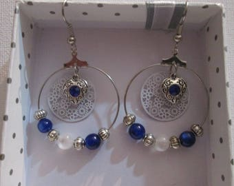 Creole earrings and blue hearts charms