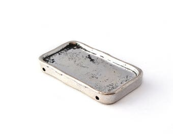 Silver rectangle connector pendant in metal antique 34x19mm
