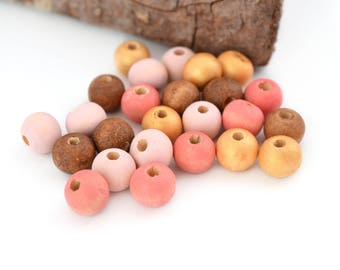 25 beads round 8mm pink, coral, Brown and gold wood