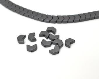 10 black chevrons beads hematite 6x5mm