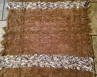 Brown/Beige/Blue/White Rag Rug