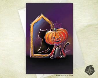 Cat Halloween Pumpkin (pre-order) greeting card