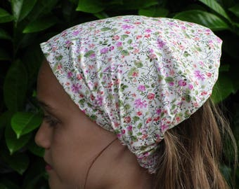 kerchief / scarf cotton flower print old pink and green