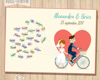 Poster prints, bicycle, personalized wedding {to print yourself}