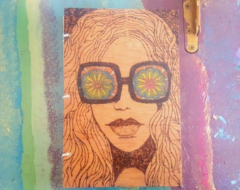 Psychedelic Wood burned Journal
