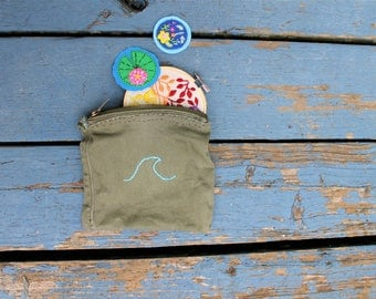 Embroidered Wave Purse