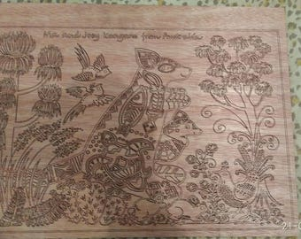 Wooden panel with the image of Hello from Australia