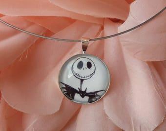 "Necklace ""Jack"" black and white skeleton bust. 25mm cabochon"