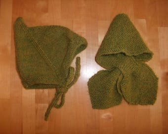 Pixie hat and green Alpaca scarf