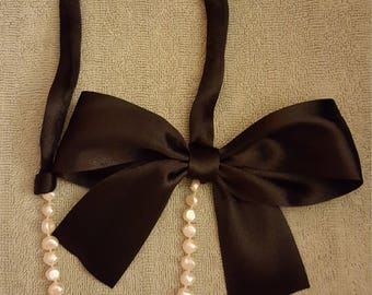 Pearl and black satin ribbon necklace