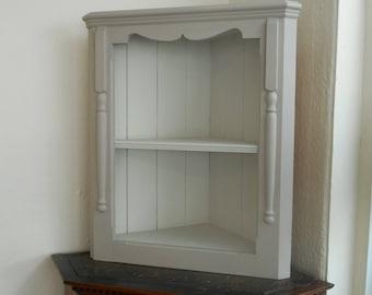 Pine wall corner shelf unit hand painted