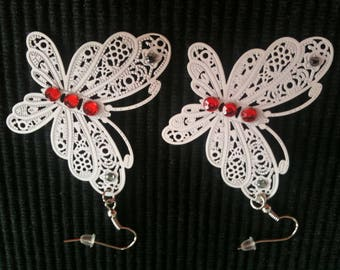 Earrings large white butterflies