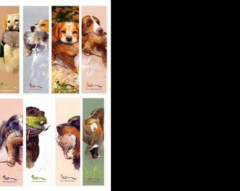 Bookmarks of collection, theme 4 dogs series, by the artist Martin deMEZERAC