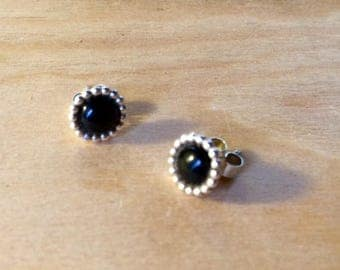 Black agate bead set 925 Silver Stud Earrings