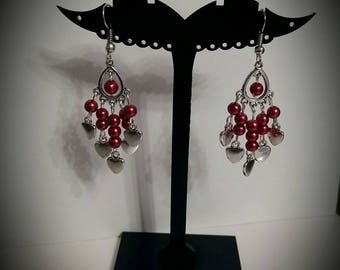 Red renaissance and heart earrings