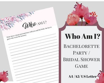 Who Am I Bachelorette Party Game,Bridal Shower Game, Printable Bachelorette Game, Hens Night Game