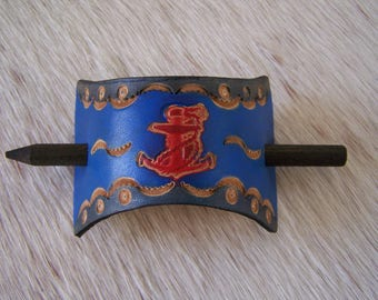 original blue and red leather hair Barrette decorated sailor (anchor), snare plant tanning