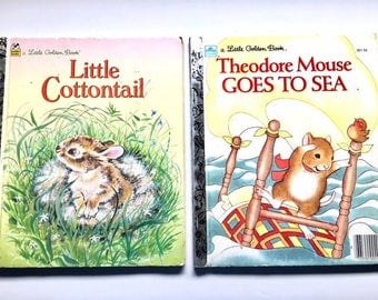 Little Cottontail Golden Books, Theodore Mouse Goes to Sea, TWO Vintage Golden Books