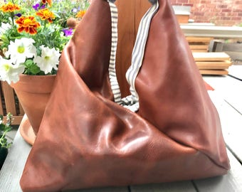 SALE!!! Brown Leather Triangle Bag