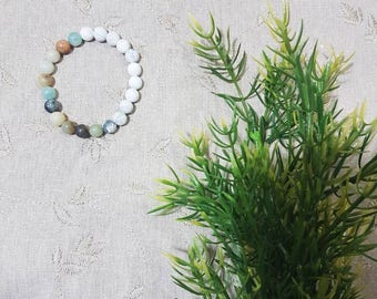 Balance and Patience Bracelet~Amazonite; Howlite; Mala