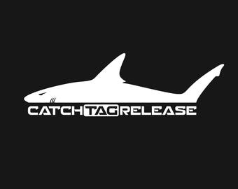 """Shark """"Fishing Catch Tag Release"""" Decal Sticker - Choose Your Color and Size"""