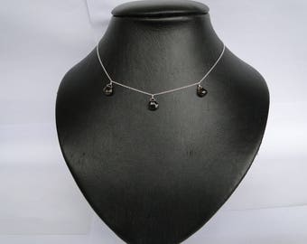 Necklace in 925 sterling silver and stone shape smoky Quartz drops