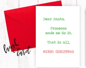 Funny Christmas Cards, Christmas Cards, Christmas Cards, Girlfriend Christmas Cards, Wife, Friends, Family Christmas Cards | Prosecco made