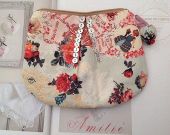 Printed Victorian pink pouch