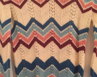 1970s Chevron Top, Zig Zag Sweater, Vintage, 1970s pointelle sweater