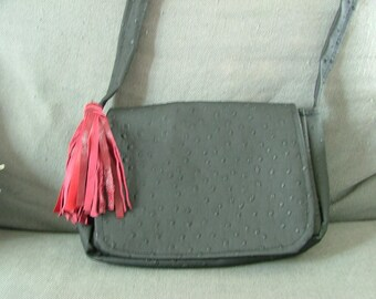 small black ostrich leather bag