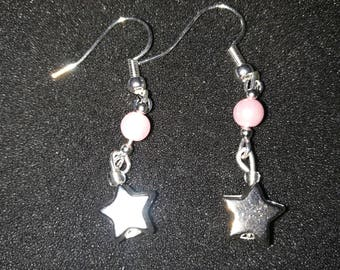 111. Baby Pink Pearl & Star Charm Dangling Silver Earrings