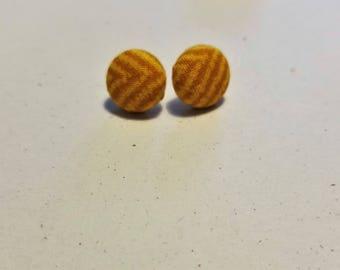Mustard Stripe Fabric Button Earring